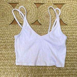 White Double Strap Crop Top